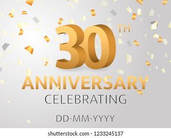 Thirtieth Anniversary with confetti. Vector illustration