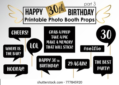 Thirtieth Birthday Party Printable Photo Booth Stock Vector Royalty