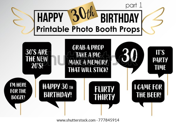 graphic relating to Printable Photo Booth Props Birthday named 30th Birthday Get together Printable Picture Booth Inventory Vector