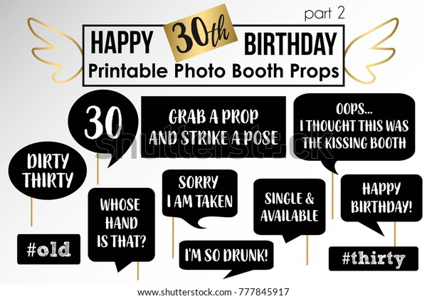 graphic about Printable Photo Booth Props Birthday called 30th Birthday Celebration Printable Image Booth Inventory Vector