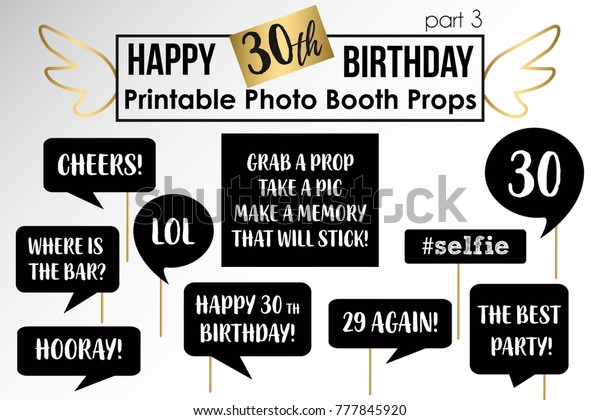 photograph relating to Free Printable Photo Booth Props Birthday called 30th Birthday Bash Printable Picture Booth Inventory Vector