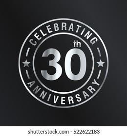 Thirty anniversary celebration logotype. 30th anniversary logo collection. Anniversary label. Anniversary logo template. Anniversary sign. Vector Illustration