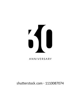 Thirty anniversary, minimalistic logo. Thirtieth years, 30th jubilee, greeting card. Birthday invitation. 30 year sign. Black negative space vector illustration on white background
