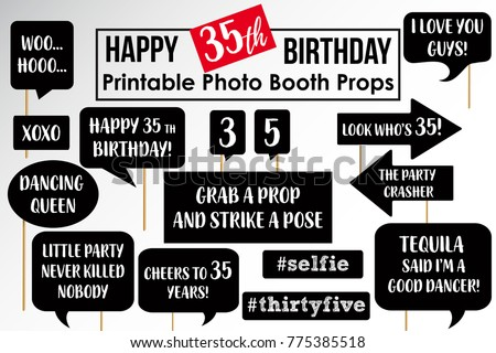 Thirty Fifth Birthday Party Printable Photo Stock Vector Royalty