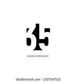 Thirty five anniversary, minimalistic logo. Thirty fifth years, 35th jubilee, greeting card. Birthday invitation. 35 year sign. Black negative space vector illustration on white background