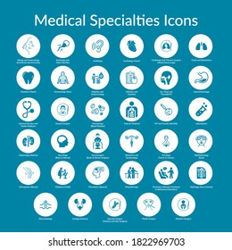 Thirty five  Medical Specialty Icons