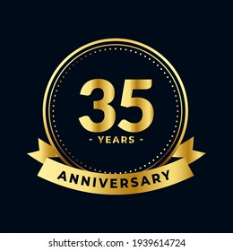 Thirty Five Years Anniversary Celebration Gold and Black Isolated Vector