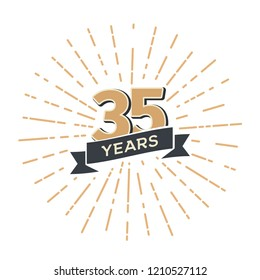 Thirty five years anniversary retro vector emblem isolated template. Vintage logo thirty-fifth 35th years with ribbon and fireworks on white background