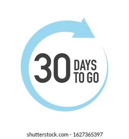 Thirty four days to go icon. Round symbol with blue arrow.