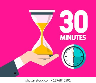 Thirty Minutes Clock with Hourglass