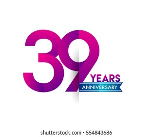 thirty nine years anniversary celebration logotype colorfull design with blue ribbon, 39th birthday logo on white background