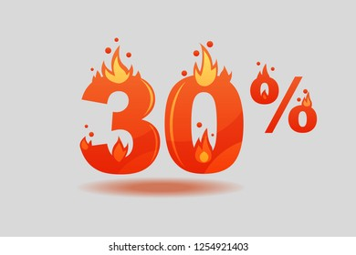 thirty percent discount, numbers on fire. Flat Vector Illustration