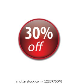 Thirty persent off vector button, web design element