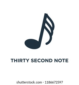 Thirty second note icon. Black filled vector illustration. Thirty second note symbol on white background. Can be used in web and mobile.