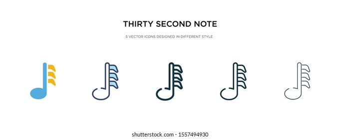 thirty second note icon in different style vector illustration. two colored and black thirty second note vector icons designed in filled, outline, line and stroke style can be used for web, mobile,