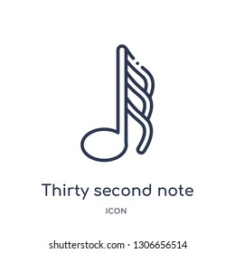 thirty second note icon from music and media outline collection. Thin line thirty second note icon isolated on white background.