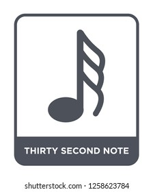 thirty second note icon vector on white background, thirty second note trendy filled icons from Music and media collection, thirty second note simple element illustration