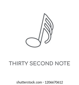 Thirty second note linear icon. Thirty second note concept stroke symbol design. Thin graphic elements vector illustration, outline pattern on a white background, eps 10.