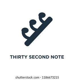 Thirty second note rest icon. Black filled vector illustration. Thirty second note rest symbol on white background. Can be used in web and mobile.