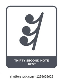 thirty second note rest icon vector on white background, thirty second note rest trendy filled icons from Music and media collection, thirty second note rest simple element illustration