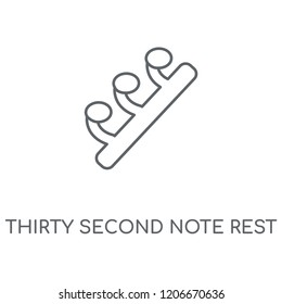 Thirty second note rest linear icon. Thirty second note rest concept stroke symbol design. Thin graphic elements vector illustration, outline pattern on a white background, eps 10.