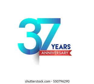 thirty seven years anniversary celebration logotype blue colored with red ribbon. 37th birthday logo on white background
