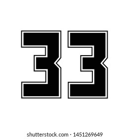 thirty three number vector, 33 numbers on the sport player's t-shirt template, template logo numeric on clothes