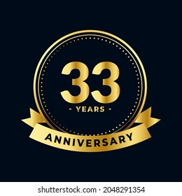 Thirty Three Years Anniversary Gold and Black Isolated Vector