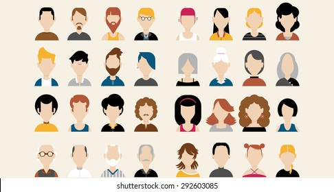Thirty two Colorful flat faces icons of sixteen men and sixteen women in different ages: Young, adult, senior. Some are casual dressed and some business-like and more official.