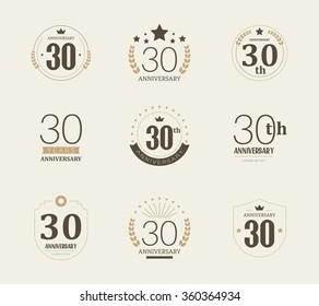Thirty years anniversary celebration logotype. 30th anniversary logo collection.