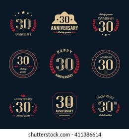 Thirty years anniversary celebration logotype.