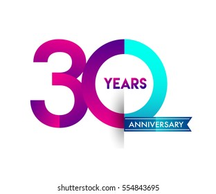 thirty years anniversary celebration logotype colorfull design with blue ribbon, 30th birthday logo on white background