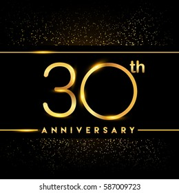 thirty years anniversary celebration logotype. 30th anniversary logo with confetti golden colored isolated on black background, vector design for greeting card and invitation card