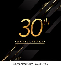 thirty years anniversary celebration logotype. 30th anniversary logo golden colored isolated on black background, vector design for greeting card and invitation card.