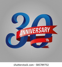 thirty years anniversary logo with red ribbon, 30th years celebration