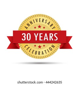 Thirty years anniversary, thirtieth anniversary celebration gold badge icon logo vector graphic design