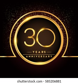 thirty years birthday celebration logotype. 30th anniversary logo with confetti and golden ring isolated on black background, vector design for greeting card and invitation card.