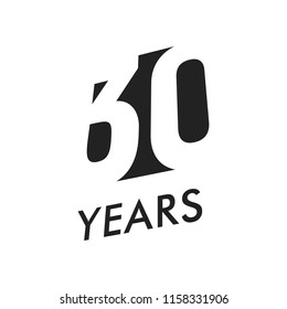 Thirty years vector emblem template. Anniversary symbol, negative space design. Jubilee black color icon. Happy 30th birthday, abstract illustration.
