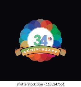 thirty-four Anniversary logo vector