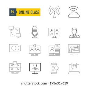 This is 14 online class web icons with stoke line. can be used for any type of design . it includes computer, man, teaching, laptop.