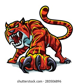 This aggressive tiger can be used as a mascot.