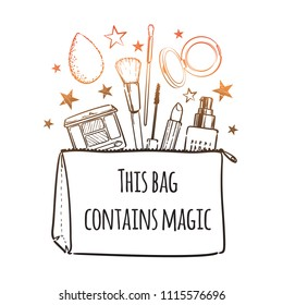 This bag contains magic. Cosmetics beauty elements, black outlines isolated on white background. For poster, card. Vector hand drawn fashion illustration with cosmetic. Perfect for social media.