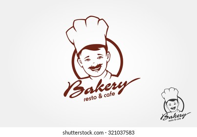 This is a bakery logo design template with face of a chef. It's good for bakery logo or restaurant logo.