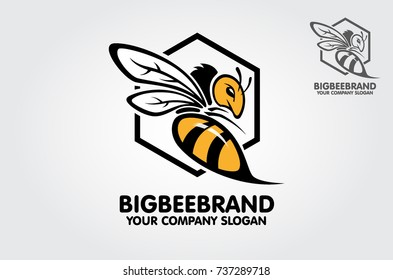 This a Big bee logo template. Decorative bee sign. Vector logo illustration.