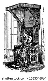 This is A Bishop Sitting on a Bishop's Throne Called a Cathedra. This is the big & historical throne of Bishop, vintage line drawing or engraving illustration.