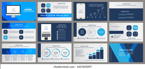 This blue template is the best as a business presentation, used in marketing and advertising, flyer and banner, the annual report. Elements on a dark grey background