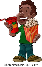 this boy is with beverage and popcorn, he is already to go to theater