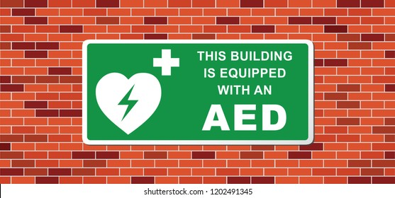 This building is equipped with an AED. Emergency defibrillator AED icon icons Medical logo cpr Vector eps symbol location automated external Medical signs sign heart electricity symbol flat safe wall