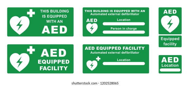 This building is equipped with an AED, location. Emergency defibrillator AED icon icons Medical logo cpr Vector eps symbol location automated external Medical signs sign heart electricity symbol flat