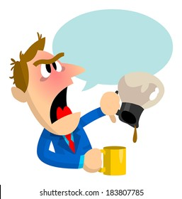 This business man is angry because no one refilled the coffee pot